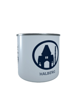Emaille-Tasse Silhouette Halberg Saarbrücken